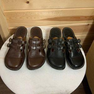 Born brown & black mules lot of 2 pairs SZ 8 M/W